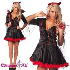 New Women Deluxe Halloween Gothic Vampire Devil Fancy Dress Costume S-2XL