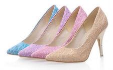 Décollte Zapatos de salón mujer talón perno 9 cm tacón aguja rosa violeta 8849