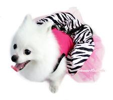 Hot Pink Sleeveless Rhinestone Black Bow Zebra Skirt Pet Dog Cat Outfit Dress