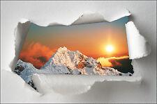 Sticker Trompe l'oeil papier déchiré déco Montagne Couché de soleil  réf 1324