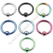 Captive Bead Closure Ring Ball 316L Surgical Steel Titanium Anodised Lip Eap