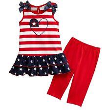 Sophie Rose Girls 2T-4T Red White Blue Patriotic Stripe Dress Legging Outfit
