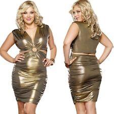 New Plus Size Gold Sleeveless Plunging Neckline Clubwear Dress 1X/2X 3X/4X D9371