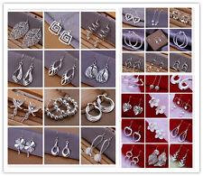 Classic Style 925Sterling Silver Leaf Beads Flower Women Earrings Dangle Stick
