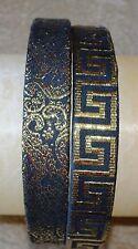 Dressy flat fitted headband in black with gold metallic..greek key & lace