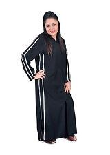 Zweiteiliges Set Abaya-Hose mit Kapuze und Stick-Bordüren, schwarz, ABY00114