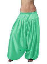 Turquoise Satin Harem Pant Belly Dance Pantaloons Bombachos Aladdin Halloween