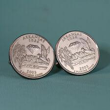 2003 Arkansas State Quarter Dollar Coin Cufflinks, Duck Rice Diamond, Tie Tack