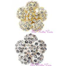 Chic Sparkling Floral Flower Centre 3D Pop Stamens Ring w/ Swarovski Crystals