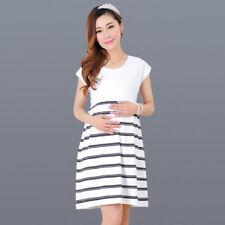 Women Casual Maternity Short Length Nursing Stripe Dress Clothes For Pregnant
