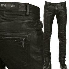 Men's Slim Genuine Leather Motorcycle Pants Zipper Trousers Size 40 Black Hd214