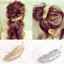 Spange Klammer Haarschmuck Haarspange Haarklammer Kristall Haar Blatt Feder