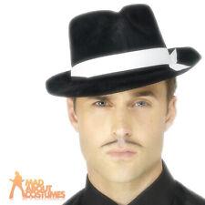 Gangster Trilby Al Capone Hat Black Mob Boss Mafia Fancy Dress Accessory New