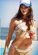 FREYA ~ Beach Candy U/W Soutien Dos-Nu-Bikini-Pantalon Set ** pastel rayé *