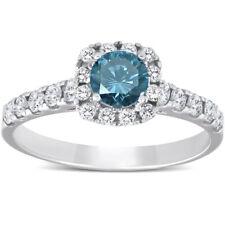 1 Ct Blue Diamond Cushion Halo Engagement Ring 14k White Gold