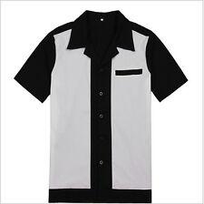 Men Casual Bowling Shirt Retro Design 50s 60s Style Cotton Top Party Clubwear
