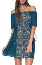 O'Neill RAE Sapphire Multi Print Drawstring Waist Beaded Tie Mini Junior's Dress
