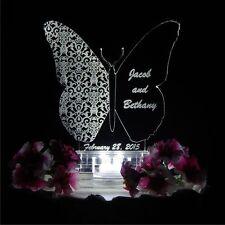 Butterfly Shape Lighted Wedding Cake Topper Custom Lit Acrylic Cake Top