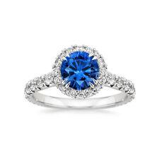 2.60 Ct Diamond Real Blue Sapphire Ring 14K White Gold Wedding Rings Size M N O