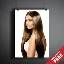 LONG BROWN HAIR POSTER A3 A4 * HAIRSTYLE HAIRDRESSER BEAUTY MAKEUP SALON PRINT