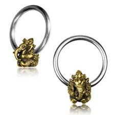 "PAIR BRASS HINDU GOD GANESH CBR RINGS NIPPLE EAR SEPTUM 1/2"" RING, GAUGES HOOPS"