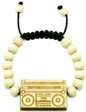 Boom Box Bracelet New Natural Good Wood Style Adj Macrame 10mm Beads Cassette