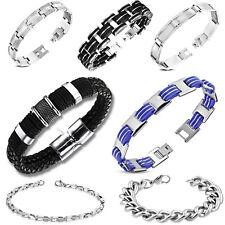 Armband für Männer Herren Edelstahl Leder Stahl Silber Schwarz Biker Motorrad