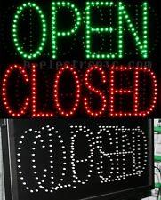 LED Schild Leuchtreklame geöffnet Open Schilder Grün Offen Closed Blinken Neon