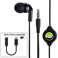 Retractable Handsfree MONO Headset Earphone w Mic TYPE-C Adapter for Cell Phones