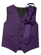 Boy's Lapis Satin Formal Dress Tuxedo Vest, Tie & Bow-Tie Set. Wedding