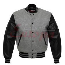 Varsity Men Wool Jacket Genuine Leather Sleeve Letterman College