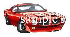 1971 FB Formula Replica Cartoon Tshirt  #0592 GA pontiac car automotive art