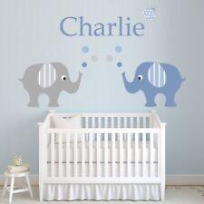 Custom Name Elephants Baby Boy Nursery Wall Decal Sticker Personalised  WS-51203