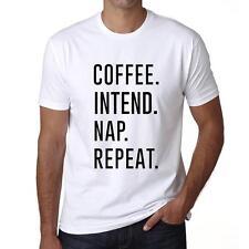 Coffee INTEND Nap Repeat Tshirt Col Rond Homme T-shirt Blanc, Cadeau