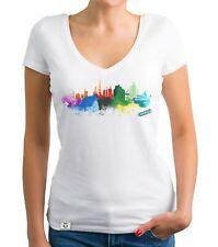 Damen T-Shirt V-Ausschnitt - Hamburg Aquarell - Hanse Hafen City HH Kiez Skyline