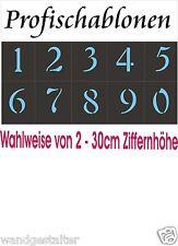 Wandschablonen, Schablonen, Schriftschablonen, Ziffernsatz 0-9, 2-30cm hoch