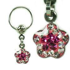 EPOXY Crystal Ring Blume beschichtet viele Farben Intim PIERCING Ohr Brust TOP!