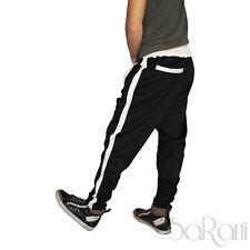 Pantaloni Tuta Sportivo Laccetti Nero Bianco Cotone 3 Tasche Casual Street Style