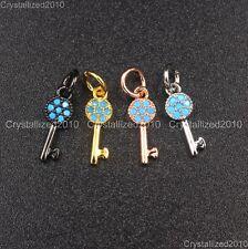 Natural Gemstone Turquoise Pave Key Shape Bracelet Connector Charm Pendant Beads