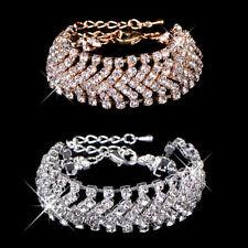 Crystal Rhinestone Charm Bracelet Bangle Women Bridal Gold or Silver Plated