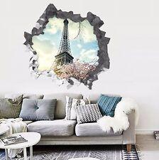 3D Tour Eiffel 317 Wall Murals Wall Stickers Decal percée AJ papier peint UK