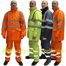 Hi Viz Waterproof Rainsuit Mens Rain Suit Set High Vis Visibility Jacket Trouser