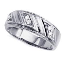 Men 14K White Gold Cz Sand Blast Finish Wedding Band Ring / Free Gift Box
