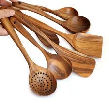 Cuillère en Bois Ustensile Set Cuisine Cuisiner Bambou Outils Bois Spatule