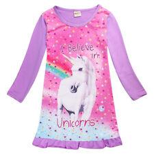 Cute Kids Girl I believe in unicorn Long Sleeve Skrit Dress Pajamas Fall Spring