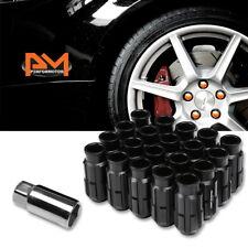 M12X1.25 Black JDM Open End Bulge Spline Wheel Lug Nuts+Lock Key 24mmx50mm 20Pc