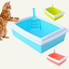 Cat Litter Case Toilet Tray With Shovel Non Splash Plastic Kitten Kitty Pan