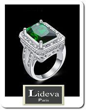 Luxus Ring Strass Damenringe Fingerringe Kristall Versilbert  Paris Pavage Grün