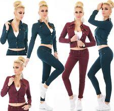 Damen Jeans Hose Jeans Jacke kurz Stretch Röhre Skinny Biker Style XS-XXL