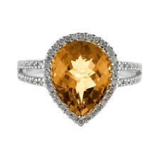 14k White Gold Pear Cushion Citrine And Diamond Ring